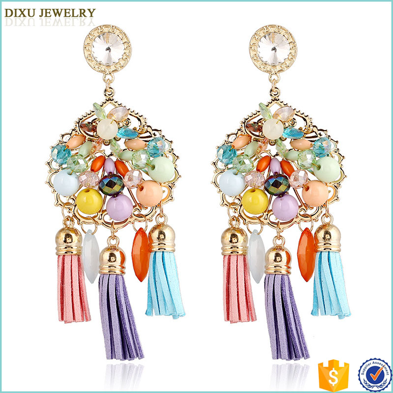 Jewelry China Manufacturer Fashion Tassel Handmade Crochet Earring Bead Dangle Earring