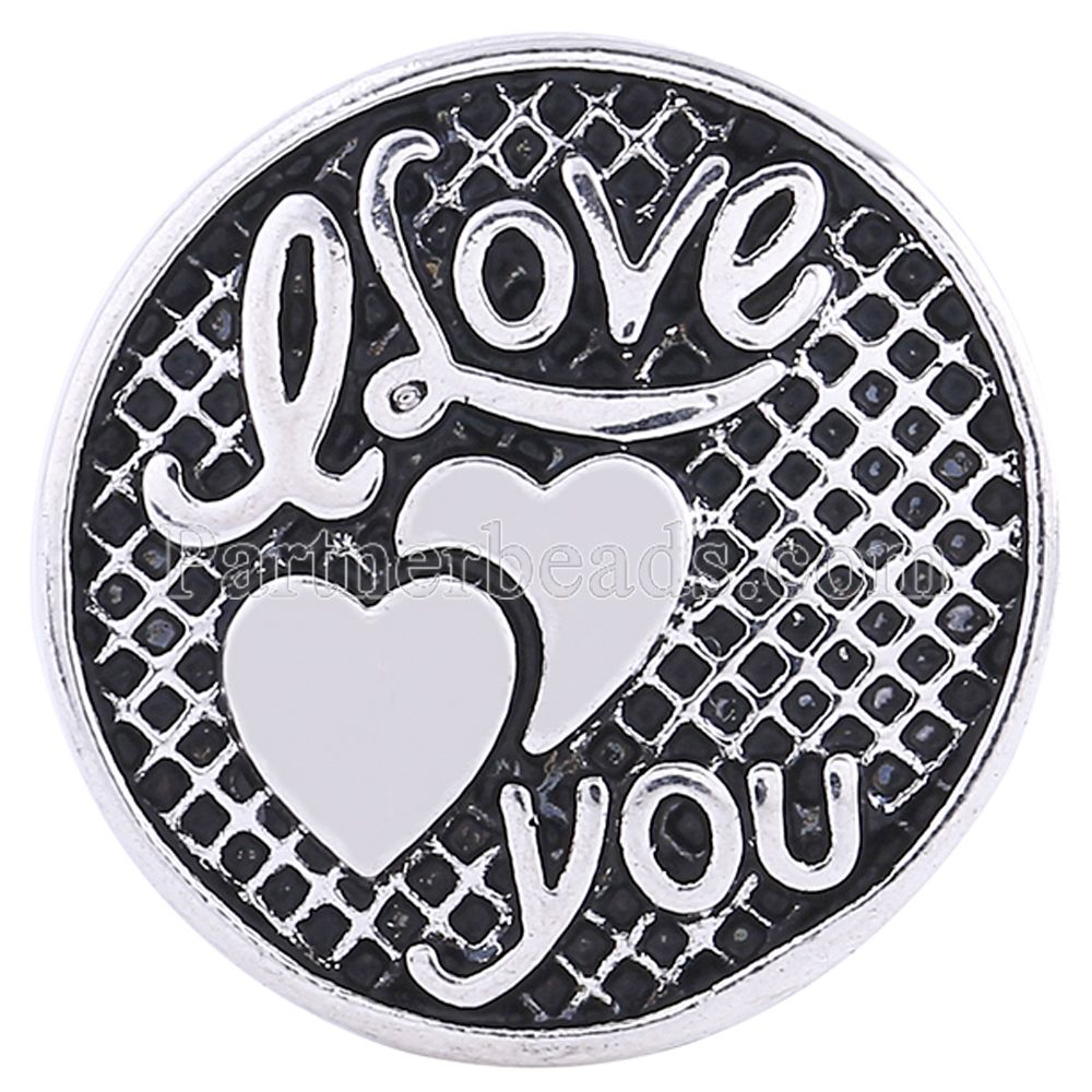 KC6127 partnerbeads 18-20MM snap round enamel heart metal custom charms