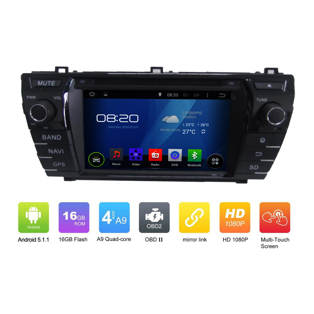 OEM Pure 2DIN ANDROID 5.1.1 CAR DVD GPS for <strong>Toyota</strong> <strong>COROLLA</strong> 2014 Quad Core 1024*600 Touch Screen Car GPS Navgation radio audio