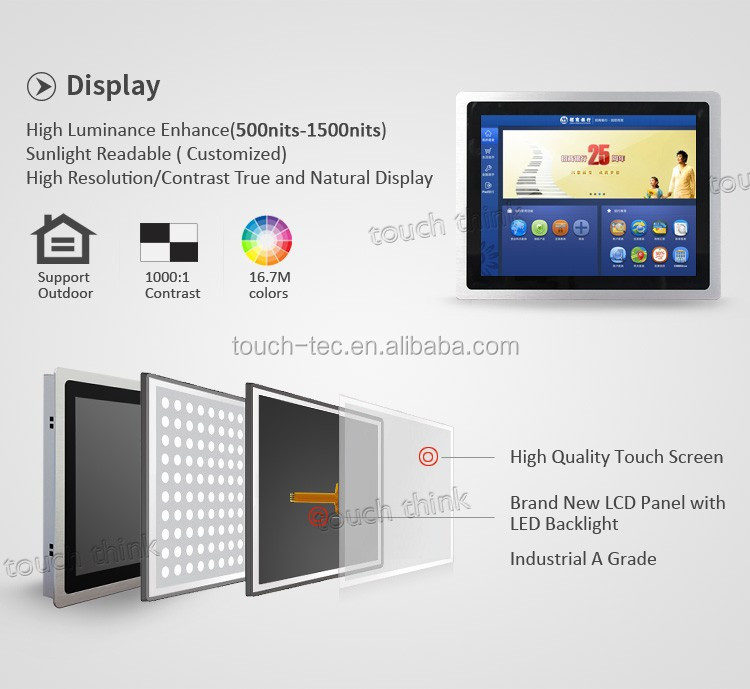 Custom 24'' Widescreen Wall Mount LCD Monitor,Touch Screen Display with 1920 x 1080 touchscreen 15.6 inch