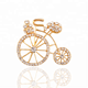KC gold color exquisite crystal rhinestone bicycle brooch clothing brooch pins accessories
