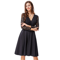 Kate Kasin Sexy Women Vintage Retro Long Sheer Black Lace Sleeve V-Neck Aline Dress KK000485-1