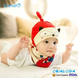 Custom Design Wholesale 100% cotton cute baby hat and bibs set