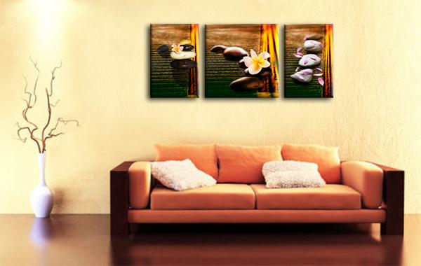 Pietra e fiori 3 pannelli tela muro arte per camera da - Stampe per camera da letto ...