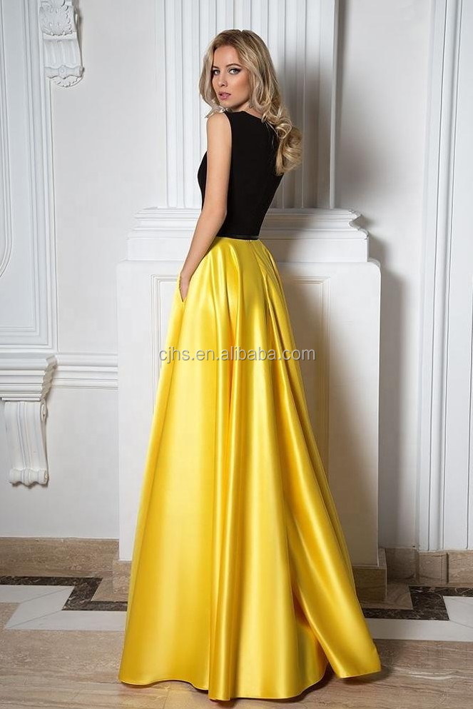 Western Latest Sleeveless A Line Bridal Dress Yellow Wedding Gown