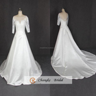 New Arrival Bridal Gown Sheer Lace Applique Ivory A Line Satin Long Tail Wedding Dresses Under 100