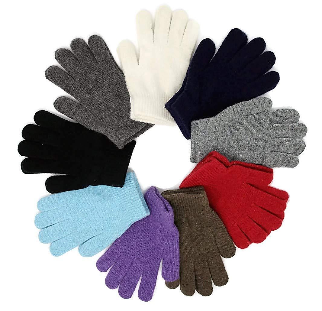 Unisex Kids Adults Magic Knit Gloves One-Size Warm Black Assorted 12 Pair 1 Dozen