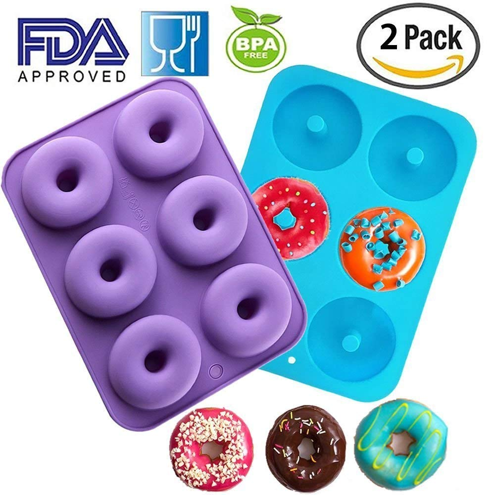Silicone Donut Molds 2 Pack 6 Cavity Non-Stick Safe Baking Tray Maker Pan Heat Resistance BPA Free Donut Mold Muffin Cups Cake Baking Ring Biscuit Mold for Cake Biscuit Bagels by