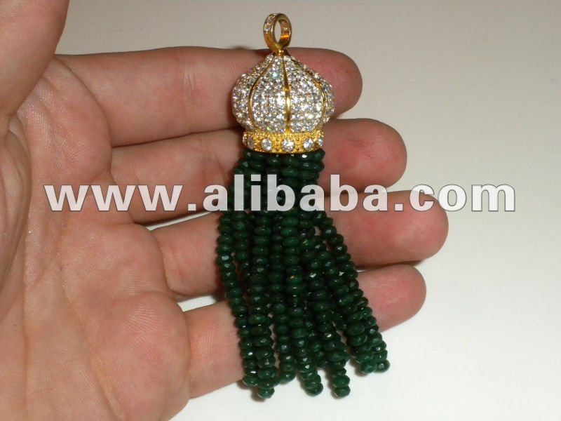 Natural Gemstone Bead Tassel Jewelry Emerald Ruby Beaded Fringe Jewellery Turkish Jade Bib Jewelery Necklace Pendant Charm