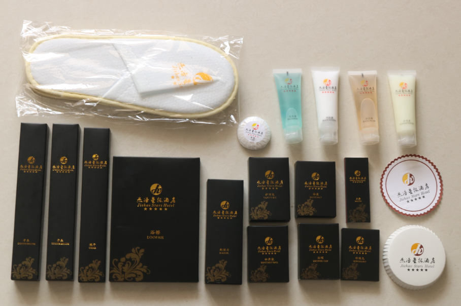 hotel amenities set with silver color package