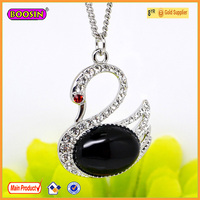 Attractive luxury swan pendant necklace jade silver necklaces #19665