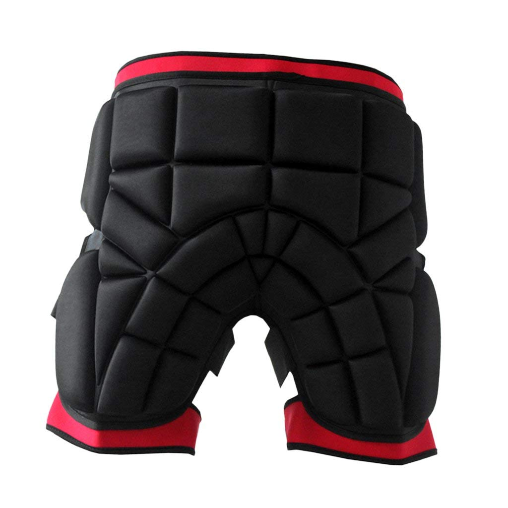 Dovewill Impact-resistant Thickened 2.5cm Skiing Hip Butt Pad Roller Skating Snowboard Padded Safe Shorts Guard Black+Red S M L