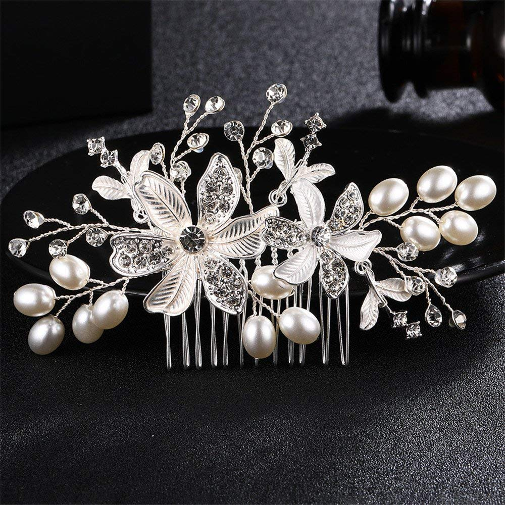 Weddwith Hair Accessories Hair styling accessories Europe and the United States the bride headdress pearls hair comb wedding accessories accessories handmade flower styling