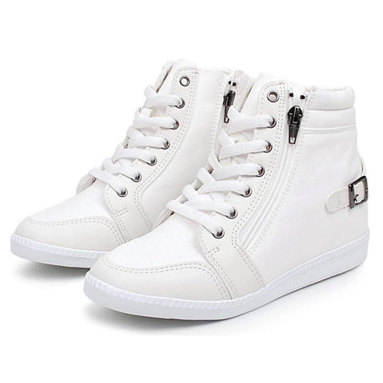 97857649b2f EpicStep Women s Casual Canvas High Tops Zip Lace Up Hidden Wedges Fashion  Sneakers Shoes