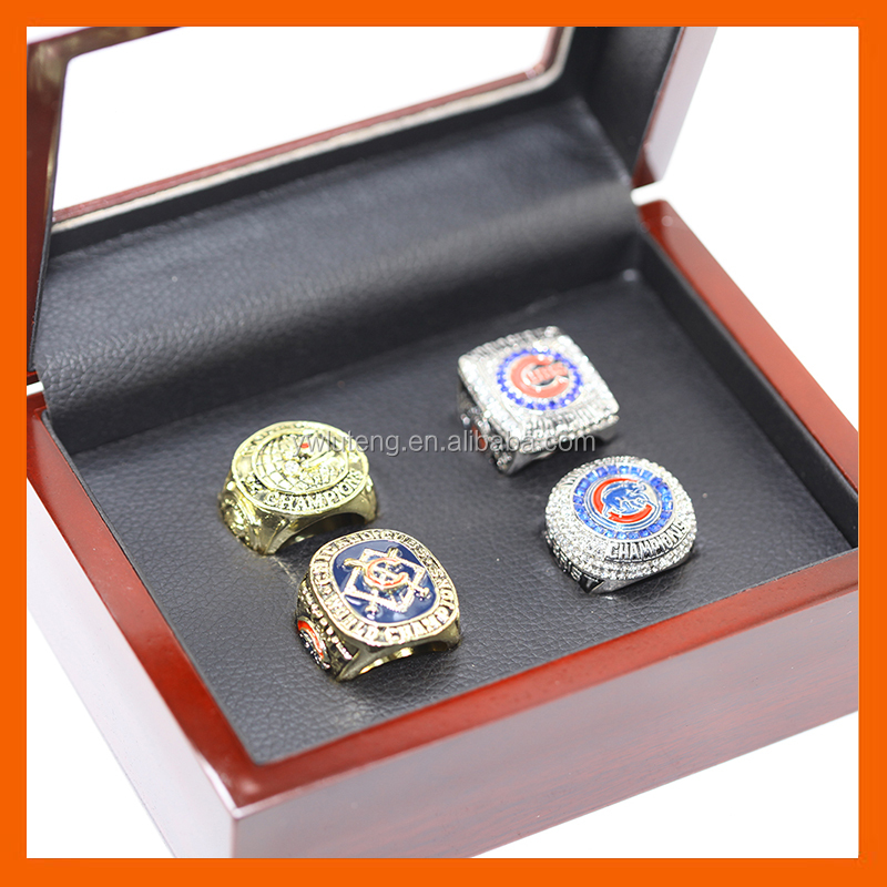 LT JEWELRY 1907 2016 2016 2016 CHICAGO CUBS BASEBALL WORLD SERIES CHAMPIONSHIP RING WITH WOODDEN BOX, 4PC RINGS AS A SET