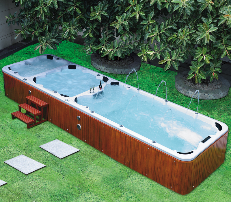 10 person swim spa above ground swimming pool fiberglass for Above ground fiberglass pools