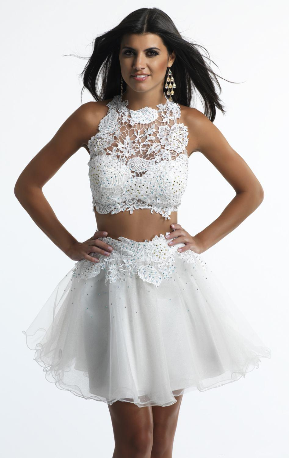 cfa3fced35bd7 2015 Two Piece Short White Homecoming Dresses Appliques Detachable Sexy  Sweet 16 8th Grad Prom Dresses