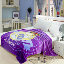 Super quality 150x200cm adults 100% polyester throw flannel Rear Madrid printed soccer club blanket