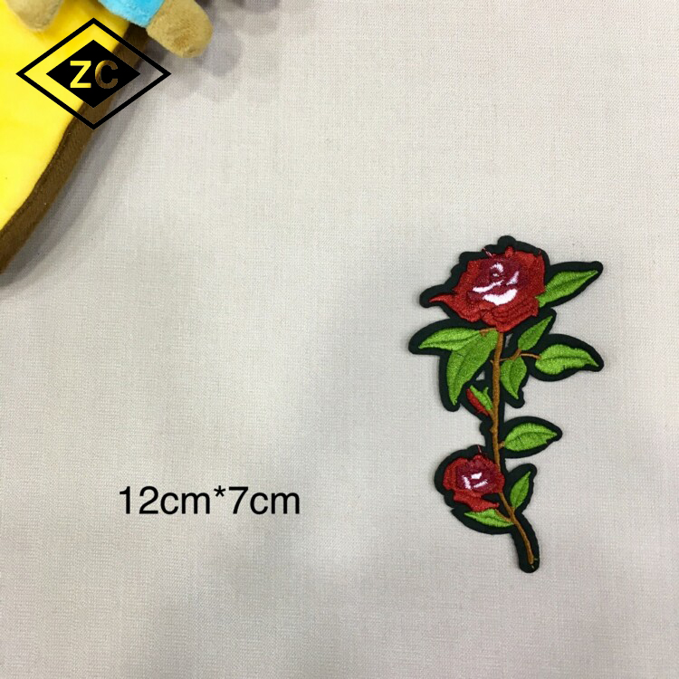 Garment accessories embossed personalized embroidery applique cloth patch with flower design