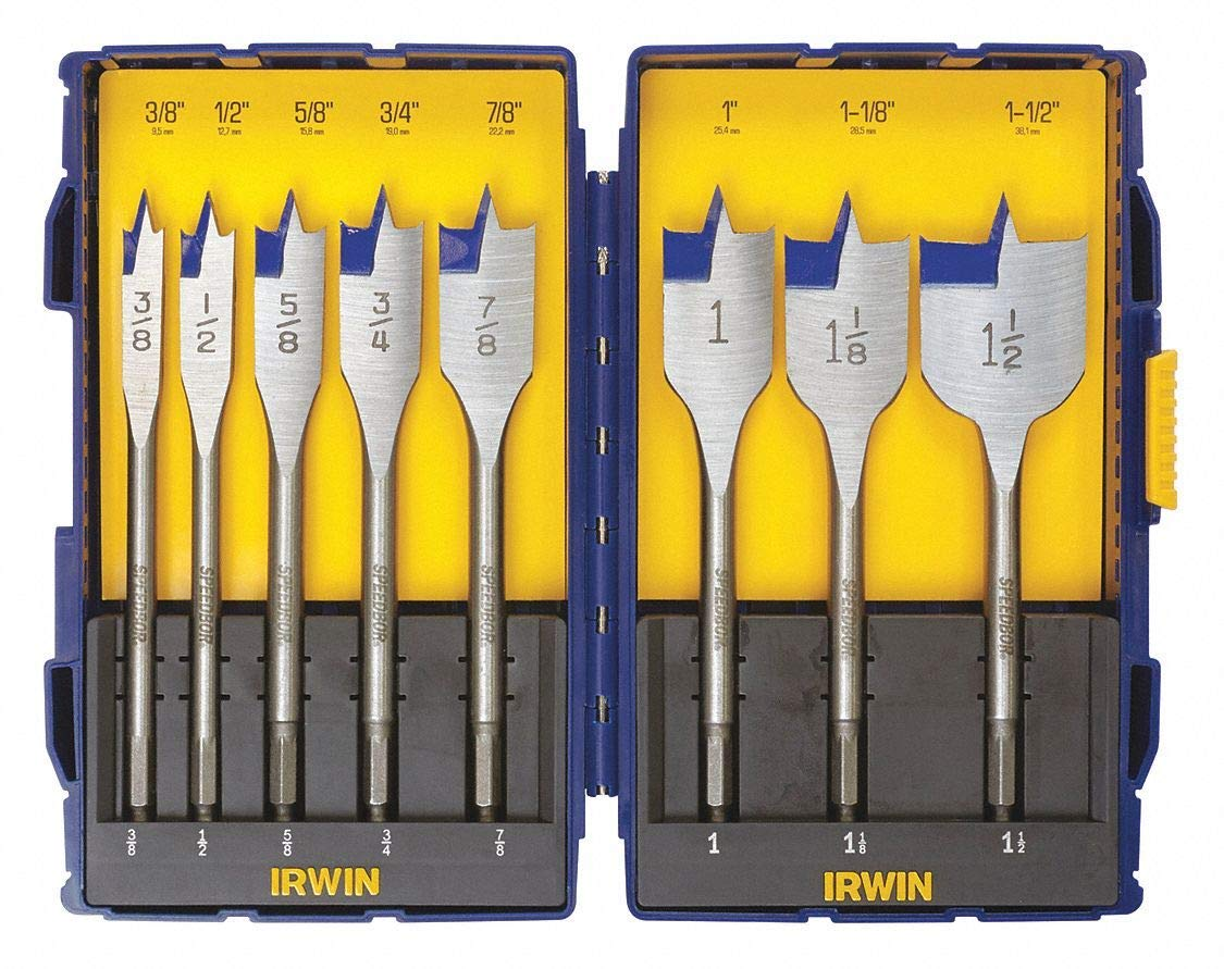 "8-PC. Auger Wood Drilling Bit Set, 3/8"", 1/2"", 5/8"", 3/4"", 7/8"", 1"", 1-1/8"", 1-1/2"" X 6"", Carbon Ste"