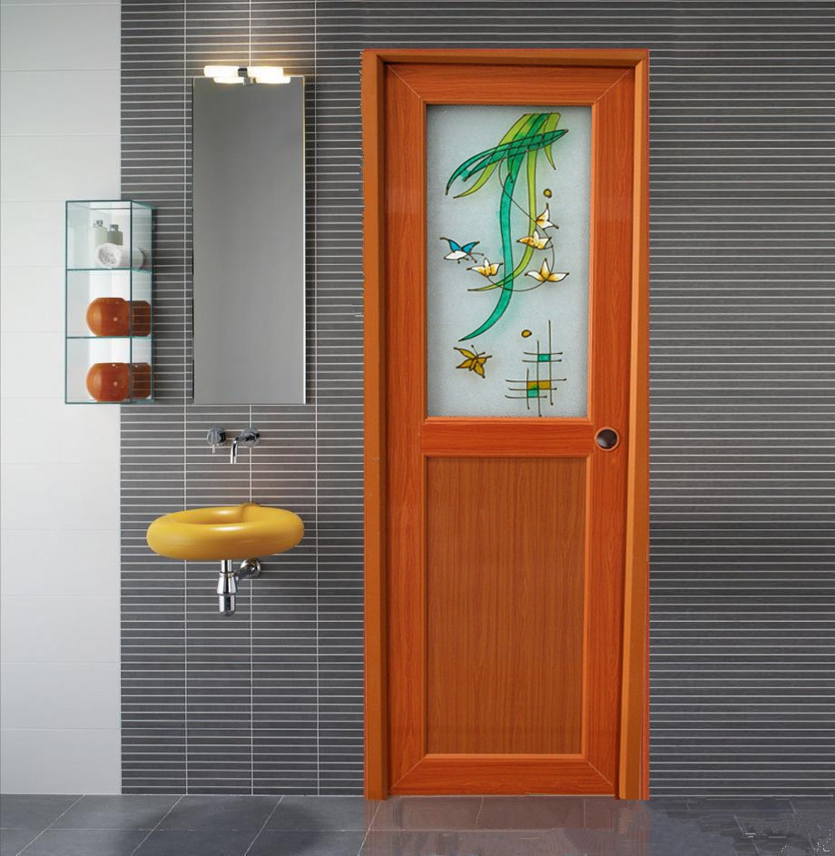 Bathroom Doors Plastic foshan china manufactory half glass white plastic toilet door pvc