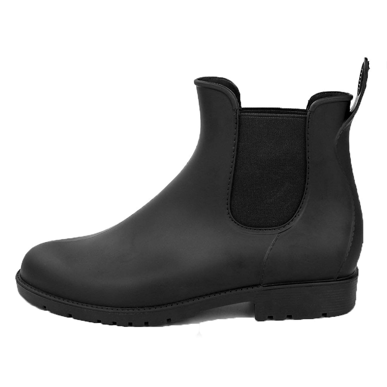 1abb908e4 Get Quotations · Smiry Women Men Anti Slip Rain Shoes Black Ladies Slip On  Waterproof Short Ankle Rain Shoes