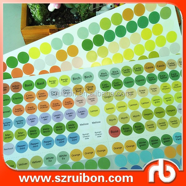 Colorful 14mm round labels sticker for Essential oil bottle cap