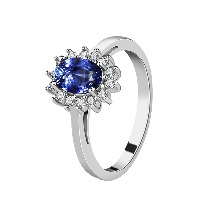 2019 factory Wholesale Custom Luxury Women's Engagement Anniversary Blue Sapphire 925 Sterling Silver Ring