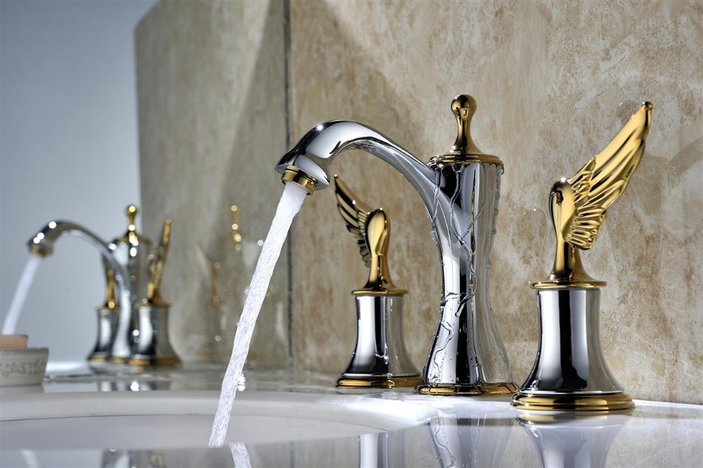 7 Faucet Finishes For Fabulous Bathrooms: Free Shipping Chrome And Gold Clour Wing Handles
