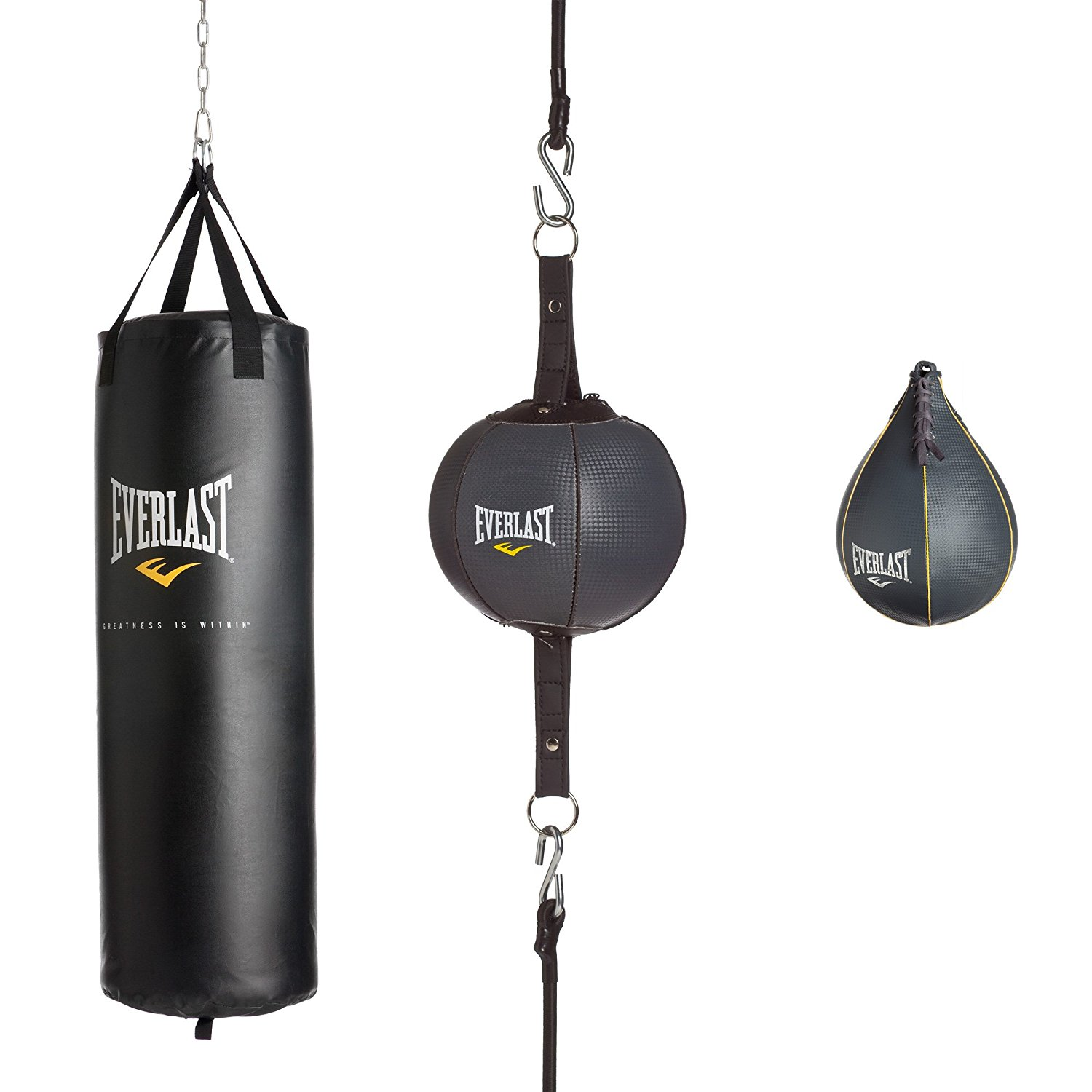 Get Quotations Everlast 100lb 3piece Heavy Bag Kit 100 Lb Black 100lbs