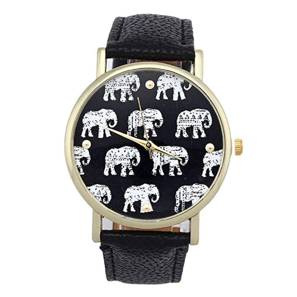 Womens Elephant Watches, Windoson Unique Analog Fashion Lady Watches Female Watches Casual Wrist Watches for Women,Round Dial Case Comfortable Faux Leather Watch (Black)
