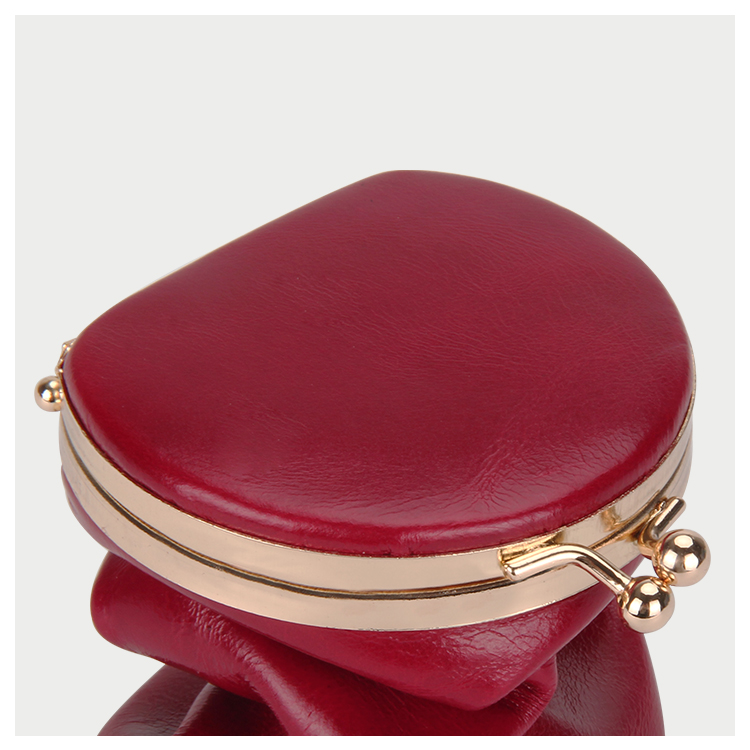 Women Mini Leather Lipstick Holder With Mirror Metal Snap Clip Closure Coin Purse