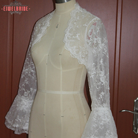 Real Image Elegant Long Sleeve Wedding Jackets Bridal Jacket Lace Bolero