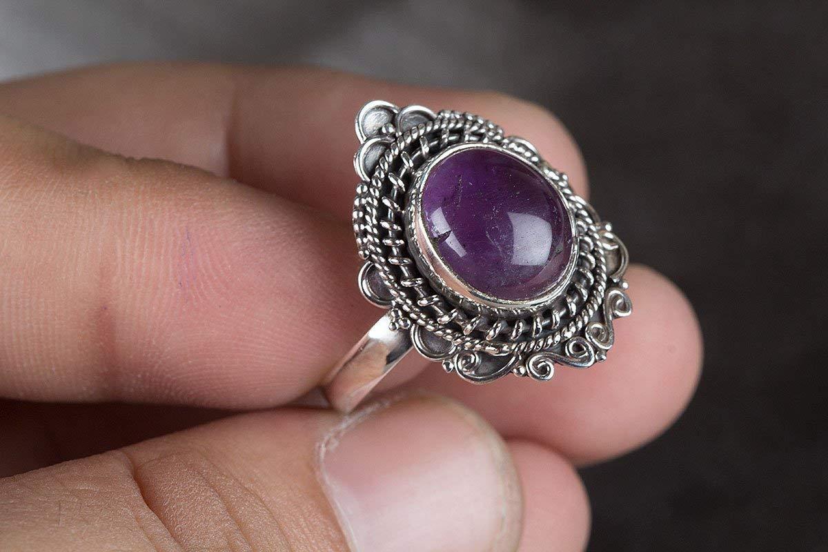 Amethyst Ring, 925 Sterling Silver, Wedding Ring, Boho Ring, Women Ring, Purple Color Gemstone Ring, Vintage Ring, Genuine Ring, Anniversary Ring, February Birthstone Ring