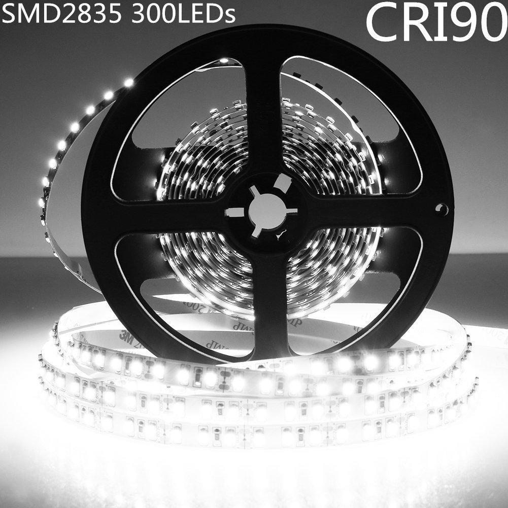LightingWill LED Strip Light CRI90 SMD2835 16.4Ft(5M) 300LEDs Daylight White 5000K-6000K 60LEDs/M DC12V 60W 12W/M 8mm White PCB Flexible Ribbon Strip with Adhesive Tape Non-Waterproof H2835PW300N