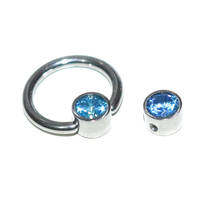Astm F136 Body Jewelry Captive Bead Ring met Platte Schijf <span class=keywords><strong>Bezel</strong></span> Set Crystal