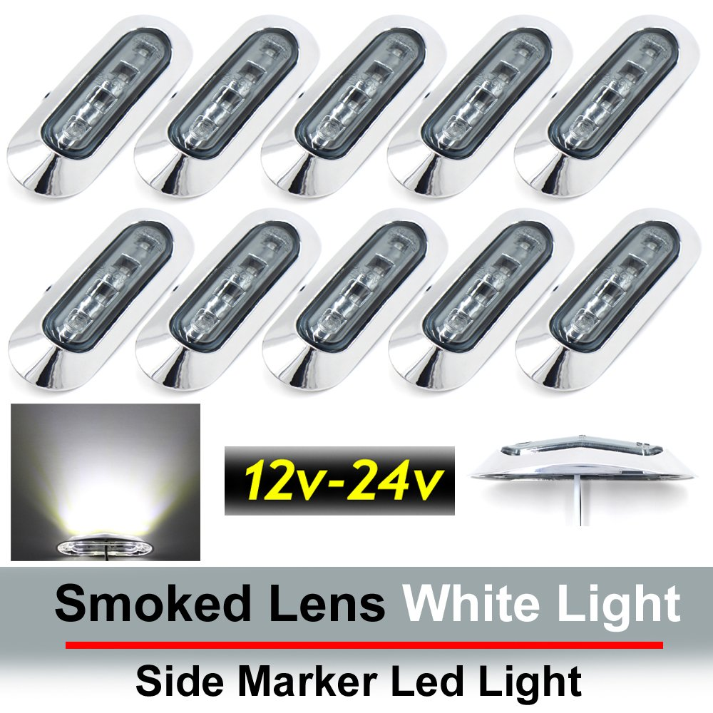 "10 pcs TMH 3.6"" submersible 4 LED Smoked Lens White Light Side Led Marker 10-30v DC , Truck Trailer marker lights, Marker light amber, Rear side marker light, Boat Cab RV"