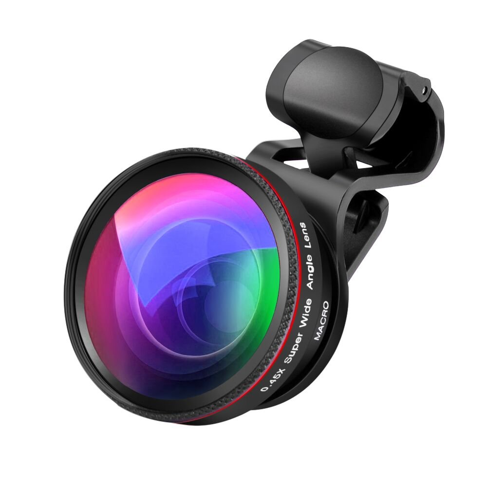 Phone Camera Lens, 2 in 1 Clip-On Lens Kit 0.45X Super Wide Angle Lens & 12.5X Macro Lens for iPhone, Samsung, Android and Other Smartphones (Black)
