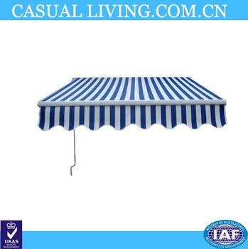 Terrace Manual Retractable Awning Canopy Umbrella Shelter Blue White