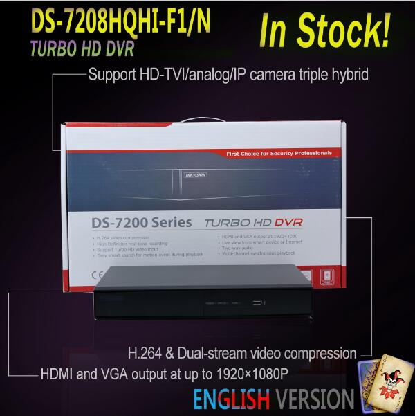 2016 Hot Sale Hikvision TVI <strong>DVR</strong> English Version DS-7208HQHI-F1/N 8CH Turbo HD <strong>DVR</strong> 1080P CCTV Security <strong>dvr</strong> recorder 1SATA