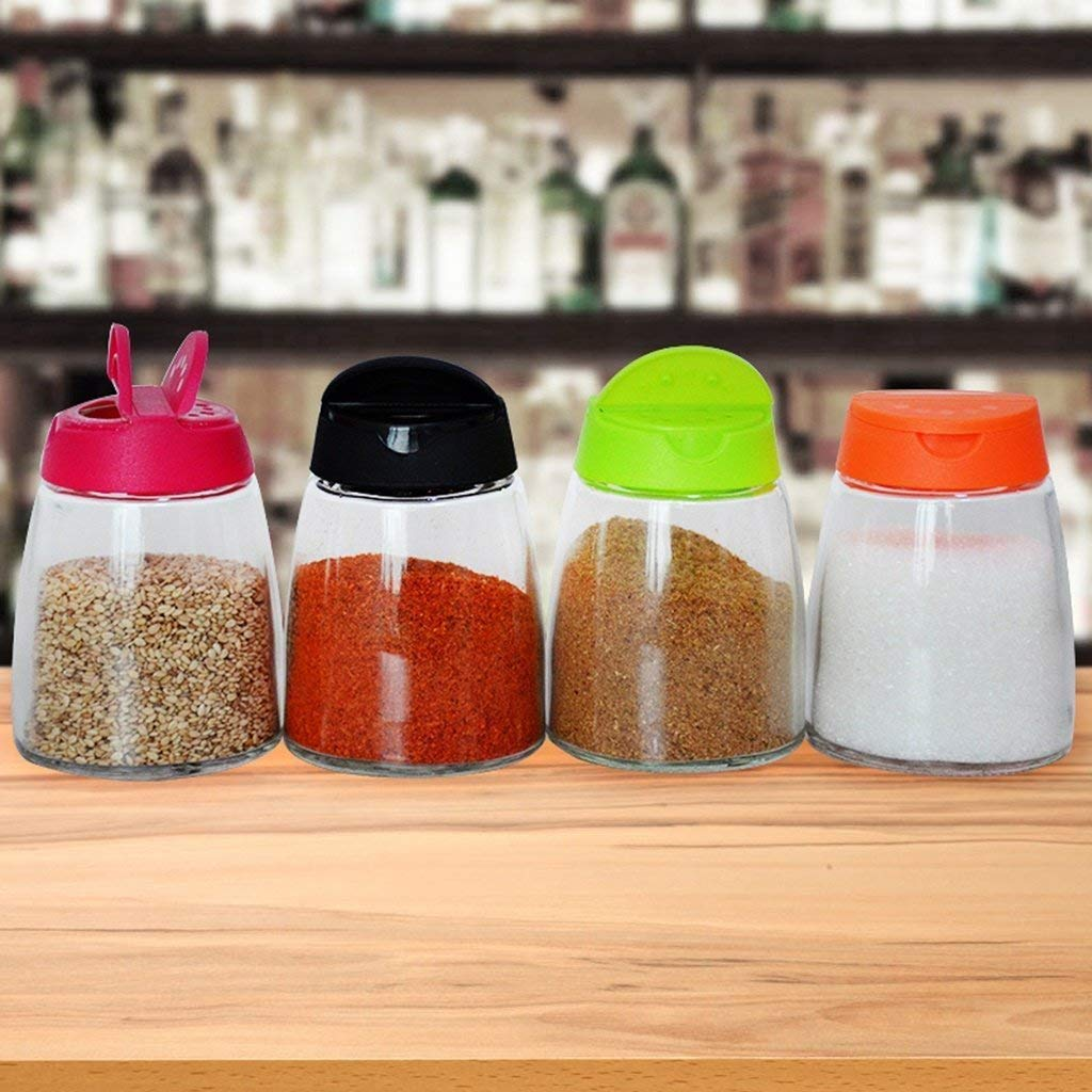 PLLP Seasoning Bottle Glass Seasoning Bottle Set Kitchenware Seasoning Pot Pepper Seasoning Bottle Seasoning Box12304;4Pcs12305;