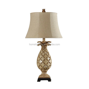JL-318 Tropical Pineapple Bronze-colored table light lamps with shade decor African Jungle Safari Home Decor