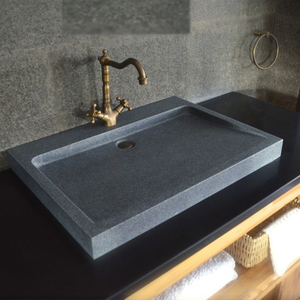 Natural Gray Granite Stone Trough Bathroom Sink