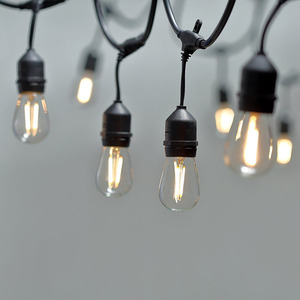 48FT Outdoor Light String E26 E27 S14 Edison Bulb included Christmas Waterproof Connectable LED String Light