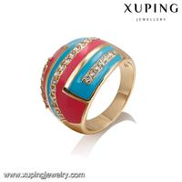 14382-xuping beautiful woman jewelry 18k gold yellow diamond rings