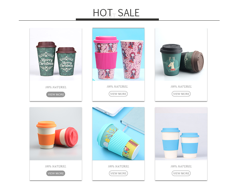 New Item Printed Design Reusable Coffee Cup With Lid Leaf Biodegradable Bamboo Cup
