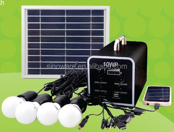 Portable 10W Home Solar Lighting kit with 4 pcs 12V 3W LED bulb High Quality