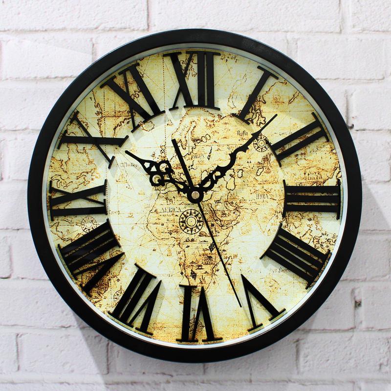 acheter carte ancienne horloge murale 3d europ enne chiffres romains r tro. Black Bedroom Furniture Sets. Home Design Ideas