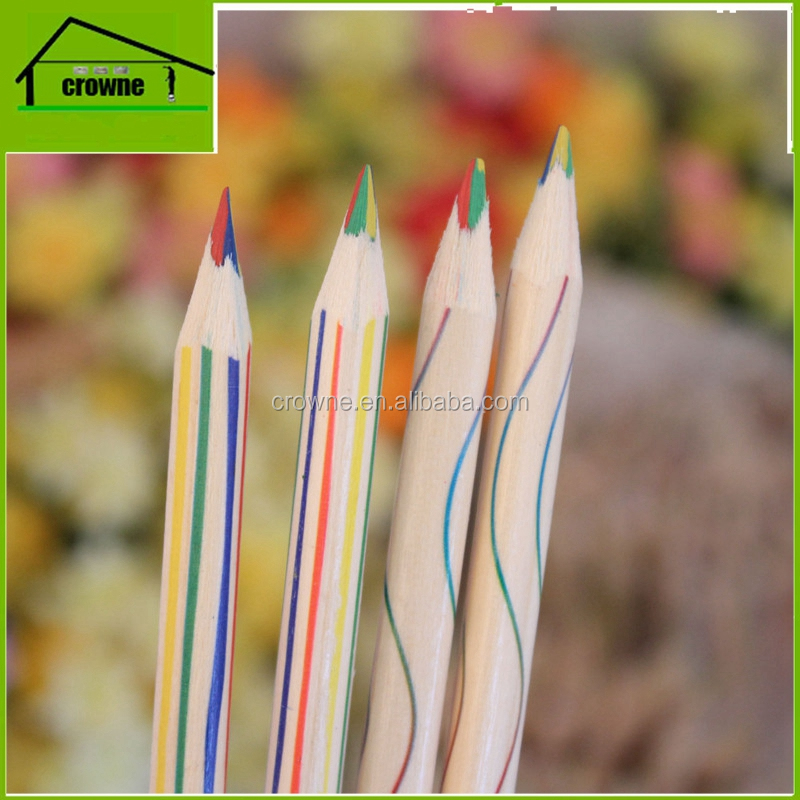 2017 best selling triangle jumbo multi colored pencil 4 in 1 pencil