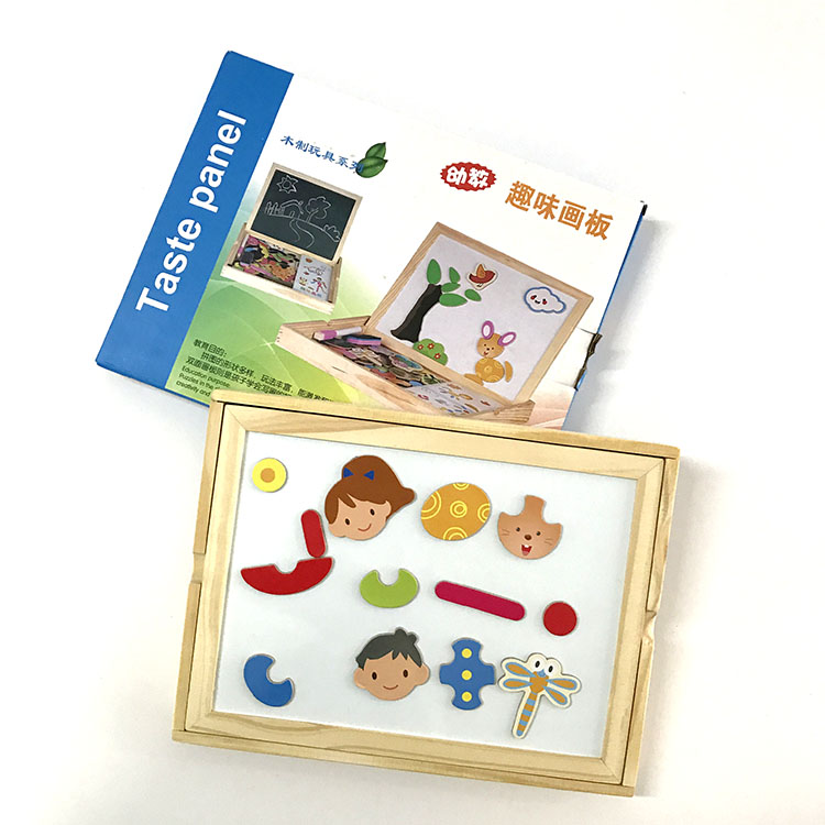 Wooden 3d Magnetic Puzzle Educational Toy Two-sided Writing Board Drawing Board Multi-purpose Toys